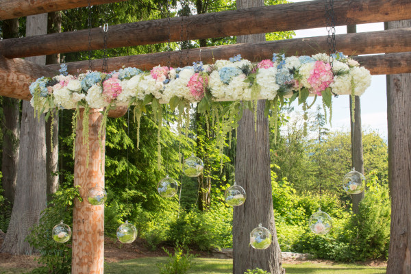 Floral chandelier by Willow and Vine Floral Design in Woodinville, WA