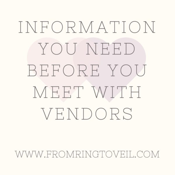 Information That you Need Before you Meet with Your Vendors, wedding planning podcast