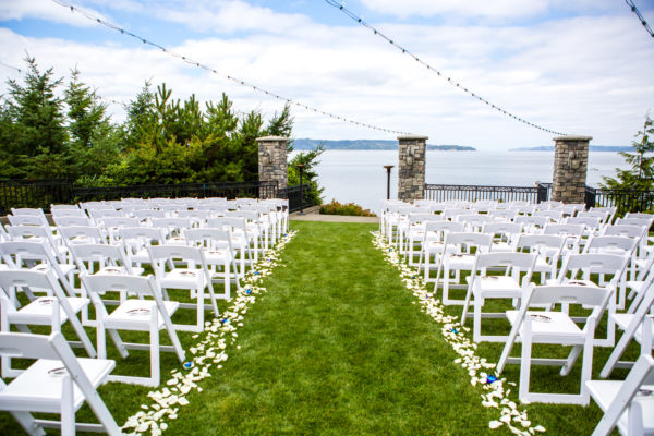 Aisle bordered with white rose petal and blue bom orchids, Summer Wedding, lake side