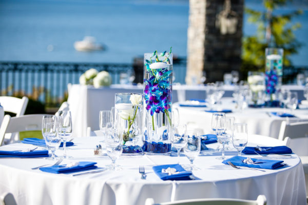 White and blue wedding on Puget Sound, Summer Wedding