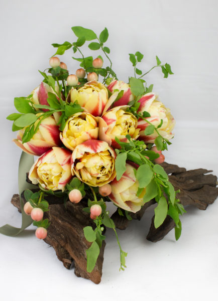 Wedding Flower Choices - March | From Ring to Veil Wedding Planning Podcast Tulip Bouquet. yellow, orange, greens.