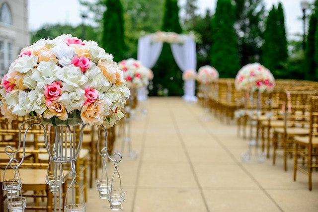 staying calm on your wedding day, wedding ceremony, aisle floral and decor