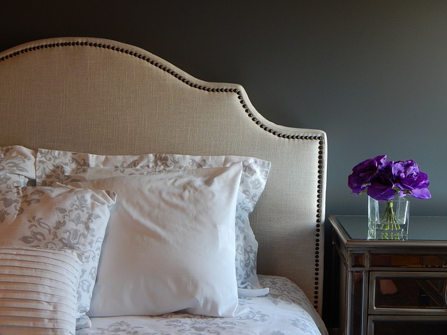 staying calm on your wedding day, comfy bed, purple flowers