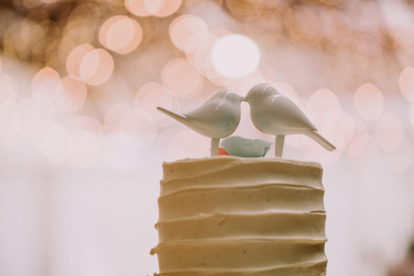 White buttercream cake with kissing birds on top