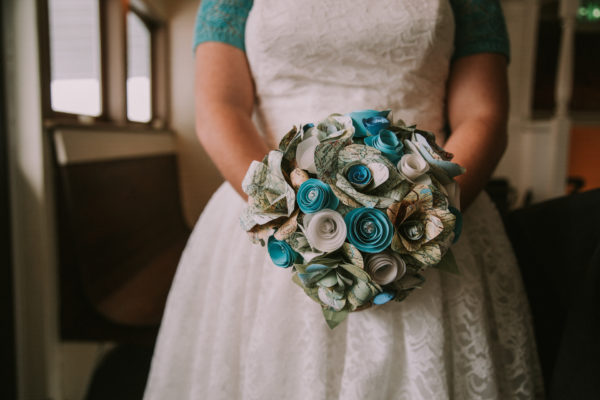Paper flower bouquet made from maps in turquoise and white